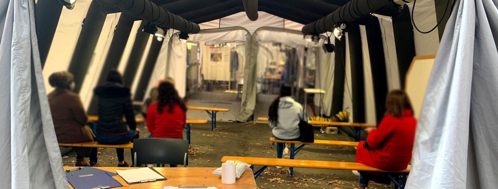 Corona-Testzentrum bezieht winterfestes