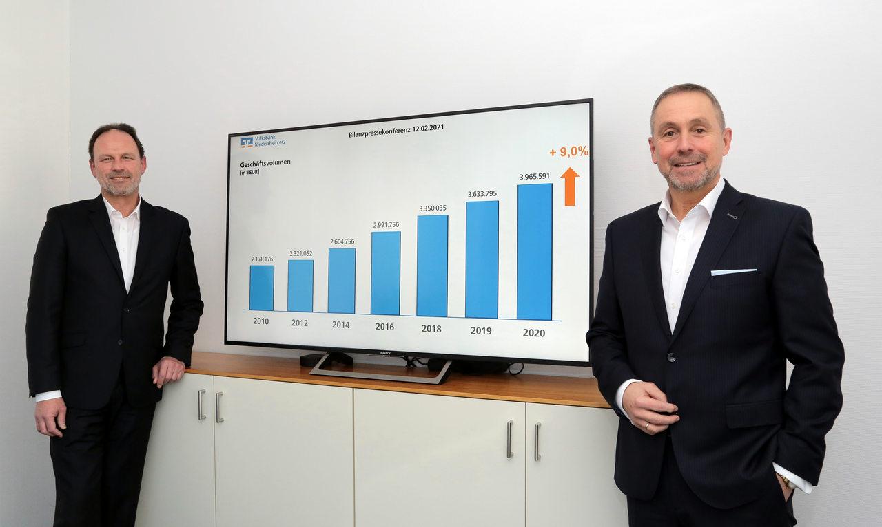 Auf dem Foto, v..r.: Vorstandsvorsitzender Guido Lohmann und Vorstand Dieter Hackstein